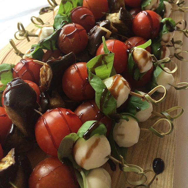 Cherry Tomato, Mozarella and Roasted Aubergine Skewers
